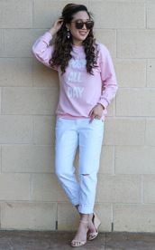 gracefullee made,blogger,sunglasses,pink sweater,ripped jeans,white jeans,spring outfits,wedges,sports sweater