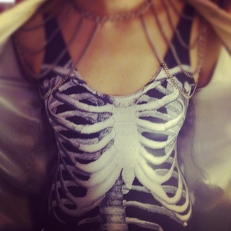 shirt tank top dark blue skeleton top