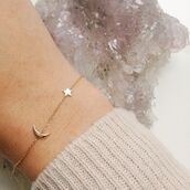jewels,bracelets,jewelry,stars,gold,moon,minimalist,dainty jewelery