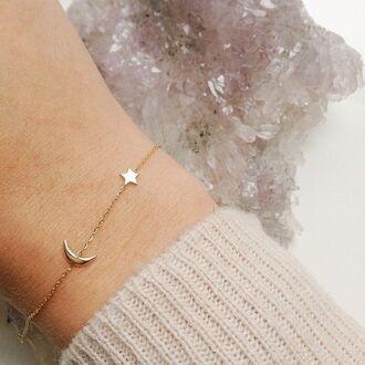 jewels bracelets jewelry stars gold moon minimalist dainty jewelery