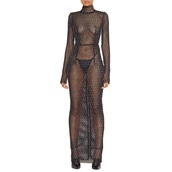 dress,maxi mesh sheer beaded dresss