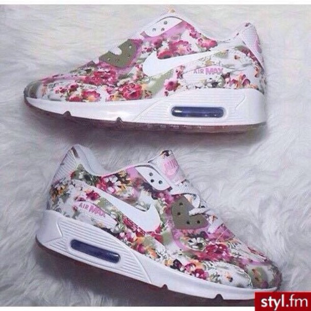 shoes nike air max white pink flowers