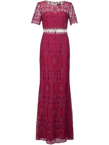 Marchesa Notte gown women lace purple pink dress