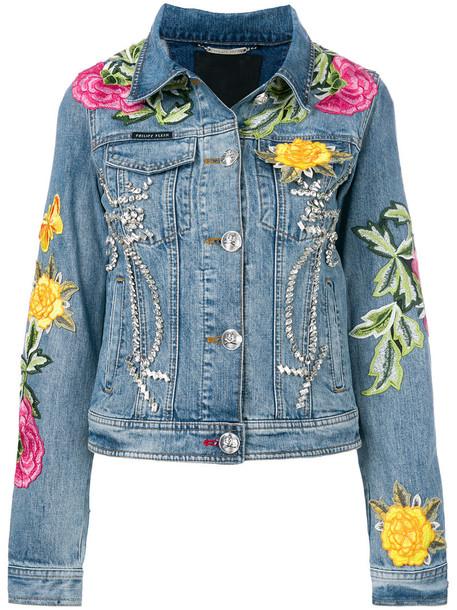 jacket denim jacket denim women floral cotton blue