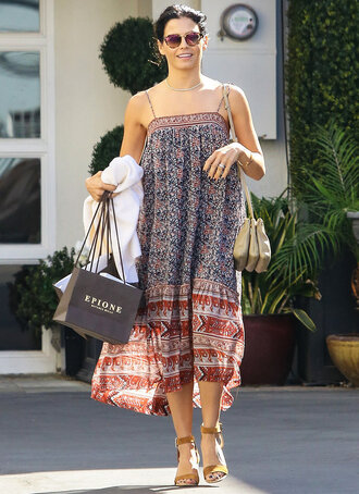 dress strapless midi dress boho dress jenna dewan sandals sunglasses purse summer summer dress summer outfits
