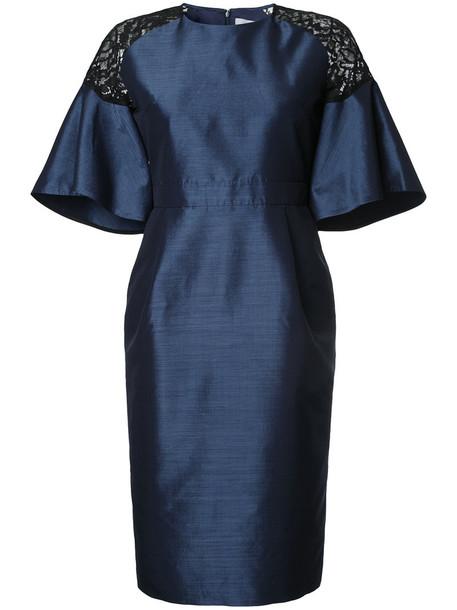 Estnation dress women lace cotton blue silk