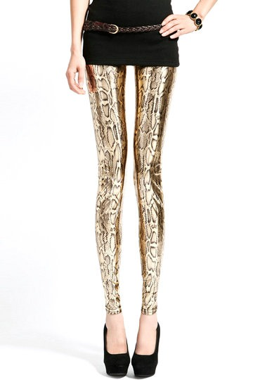 Golden Snake Print Leggings [FBBI0044]- US$ 23.99 - PersunMall.com