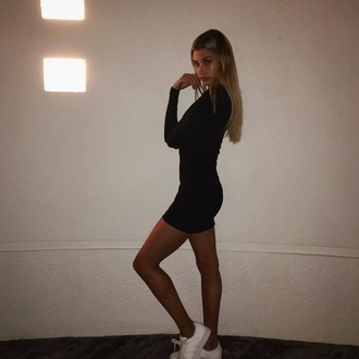 dress instagram sneakers bodycon dress mini dress long sleeve dress shoes little black dress black dress black and white cute love black