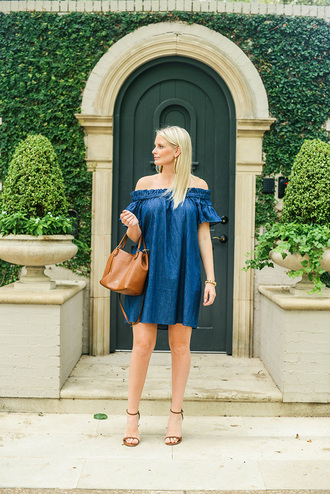 style archives | the style scribe blogger dress off the shoulder blue dress denim dress mini dress brown bag sandals sandal heels