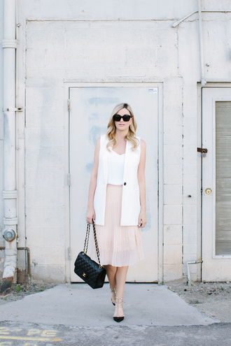 a little dash of darling blogger tank top baby pink chanel bag white jacket pleated skirt office outfits jacket skirt top shoes bag