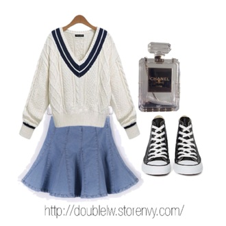 white stripes sweater top blouse t-shirt denim skirt fall outfits fashion kawaii girly clothes