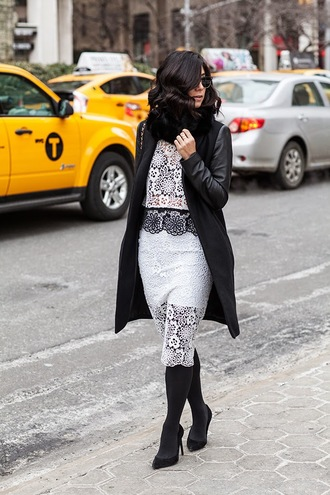 this time tomorrow blogger lace top lace skirt two-piece black coat