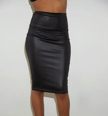 Lethalbeauty ? solid leather midi skirt