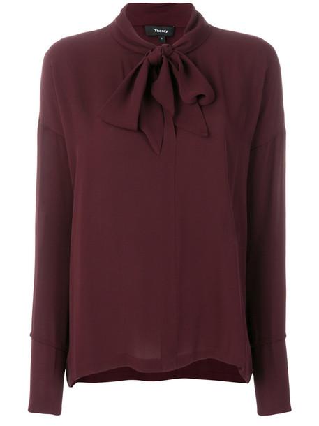theory shirt women silk red top