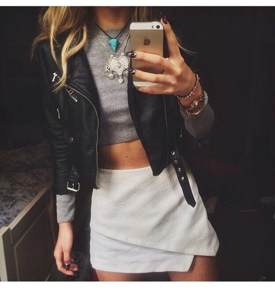 white skirt jacket black leather jacket gray top leather jacket