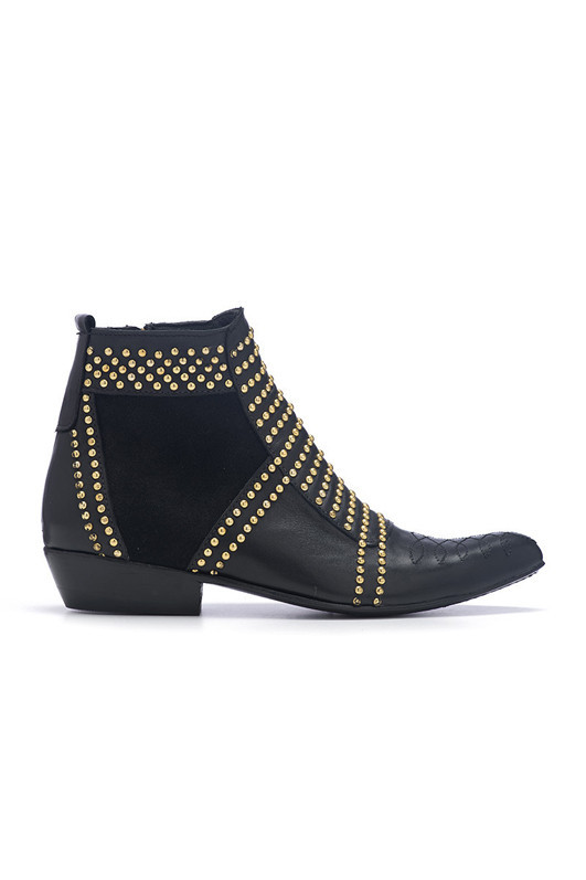 Black leather boots with hand stitched pattern, metal studs and sue...