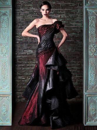 dress black and red one shoulder