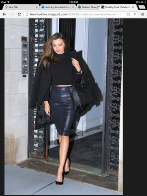 fall outfits miranda kerr kerr leather skirt leather dress midi midi dress two-piece fashion fall dress fall skirt skirt