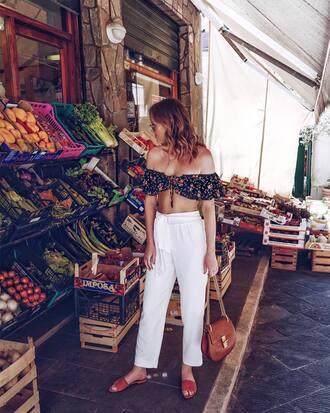 top tumblr crop tops bandeau off the shoulder off the shoulder top pants white pants shoes slide shoes bag
