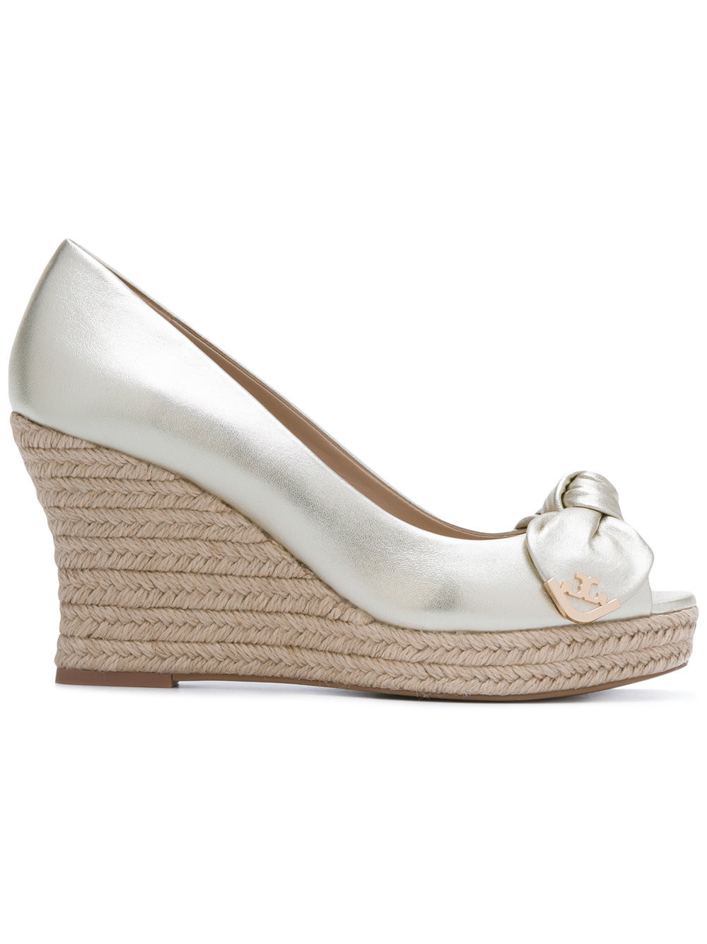 Tory Burch Dory metallic peep-toe espadrille wedges - Nude & Neutrals