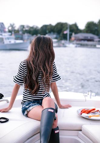 extra petite blogger t-shirt shorts shoes striped t-shirt denim shorts