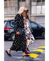 dress,maxi dress,polka dots,long sleeve dress,bag,mules,sunglasses,boots