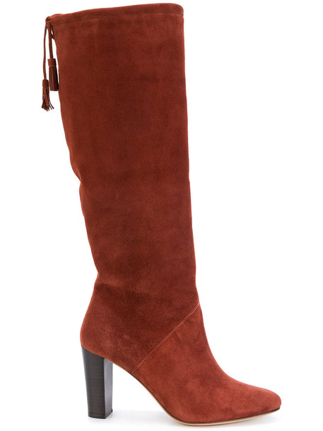 Tila March wood women boots leather suede brown shoes