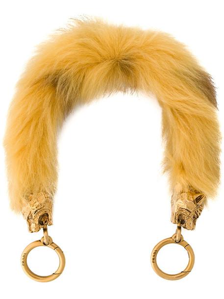 Prada metal fur women bag yellow orange