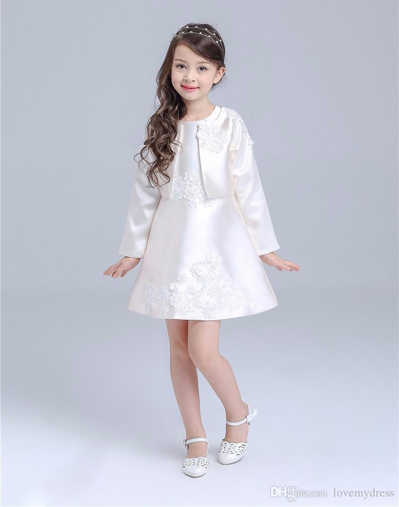 Satin cheap flower girls dresses short mini gown appliques zipper satin cheap flower girls dresses short mini gown appliques zipper back dress with jacket sweet a line party wear communion dresses flower girl dresses izmirmasajfo Images