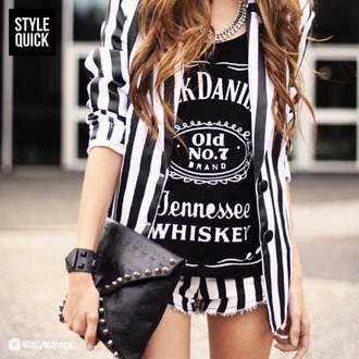 jacket jack daniel's shorts blazer edgy bag belt