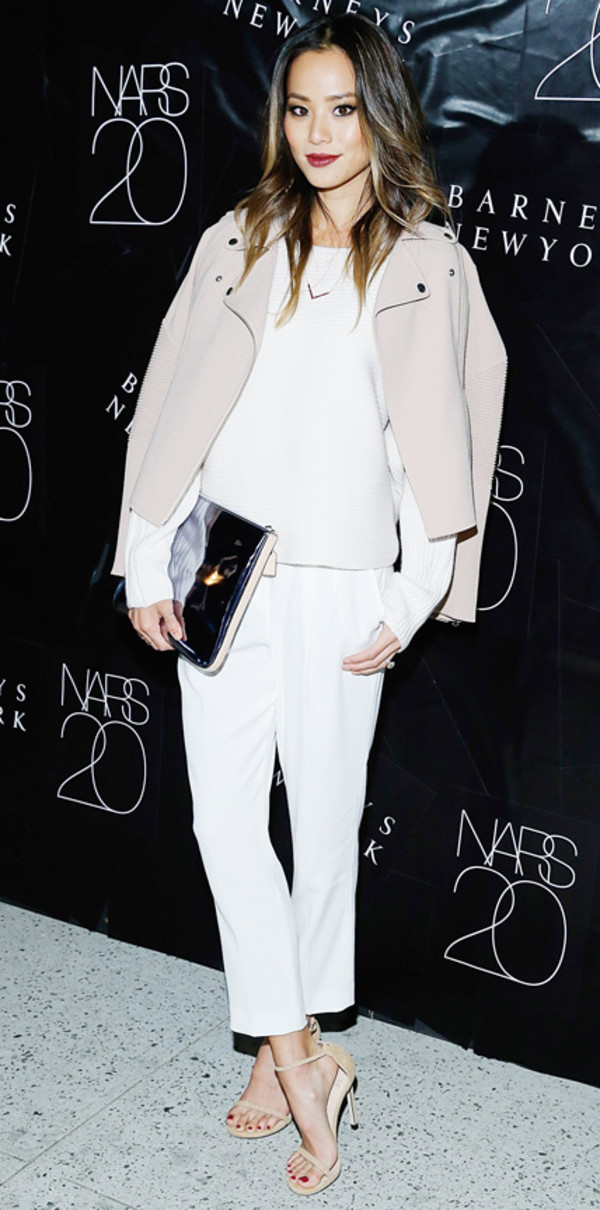 jacket pants jamie chung fashion week 2014
