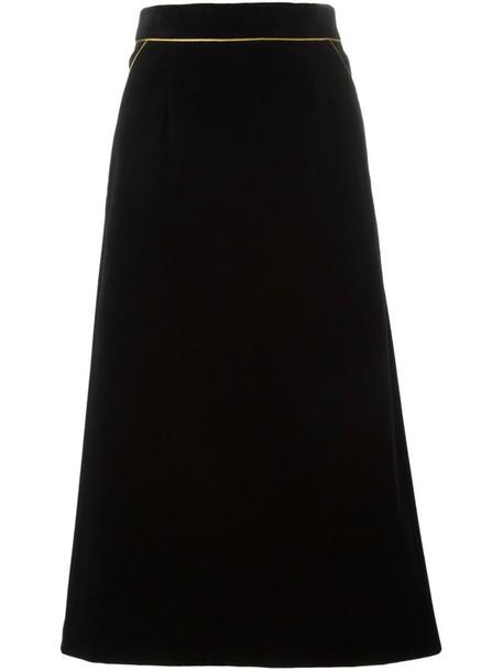 Saint Laurent skirt midi skirt women midi cotton black silk