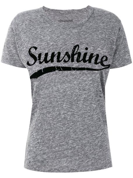 Zadig & Voltaire - sunshine printed T-shirt - women - Cotton/Viscose - L, Grey, Cotton/Viscose