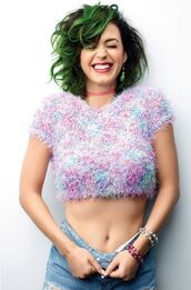 top,crop tops,katy perry,sweater,blue green hair