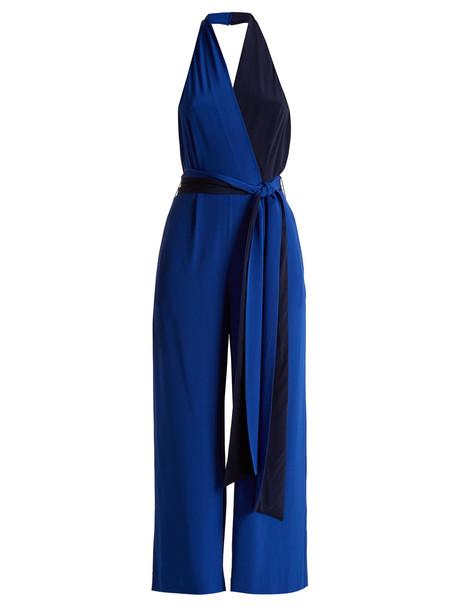 DIANE VON FURSTENBERG Bi-colour halterneck silk crepe de Chine jumpsuit in blue / multi