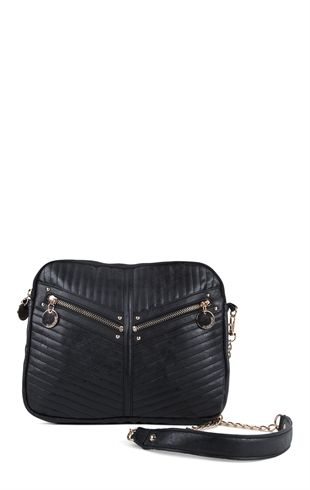 Quilted crossbody bag with chain strap and front zipper