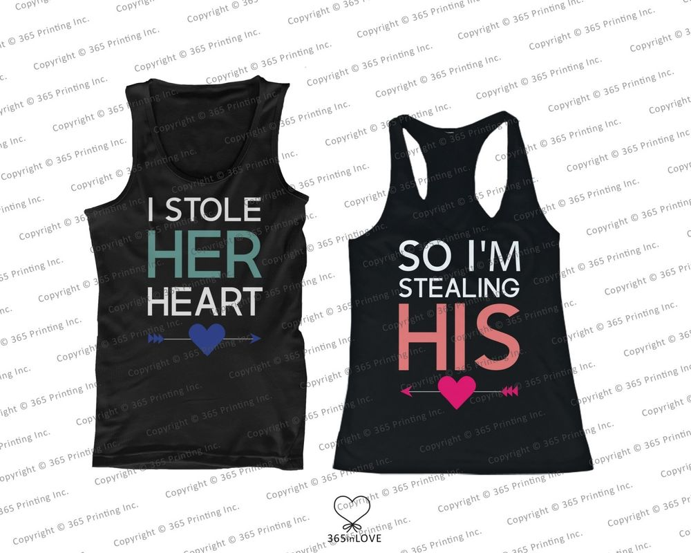His and Her Couples Matching Tank Tops I Stole Her Heart So I'M Stealing His | eBay