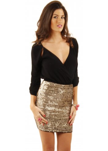 Waisted Gold Sequin Mini Skirt | Designer Gold Skirts