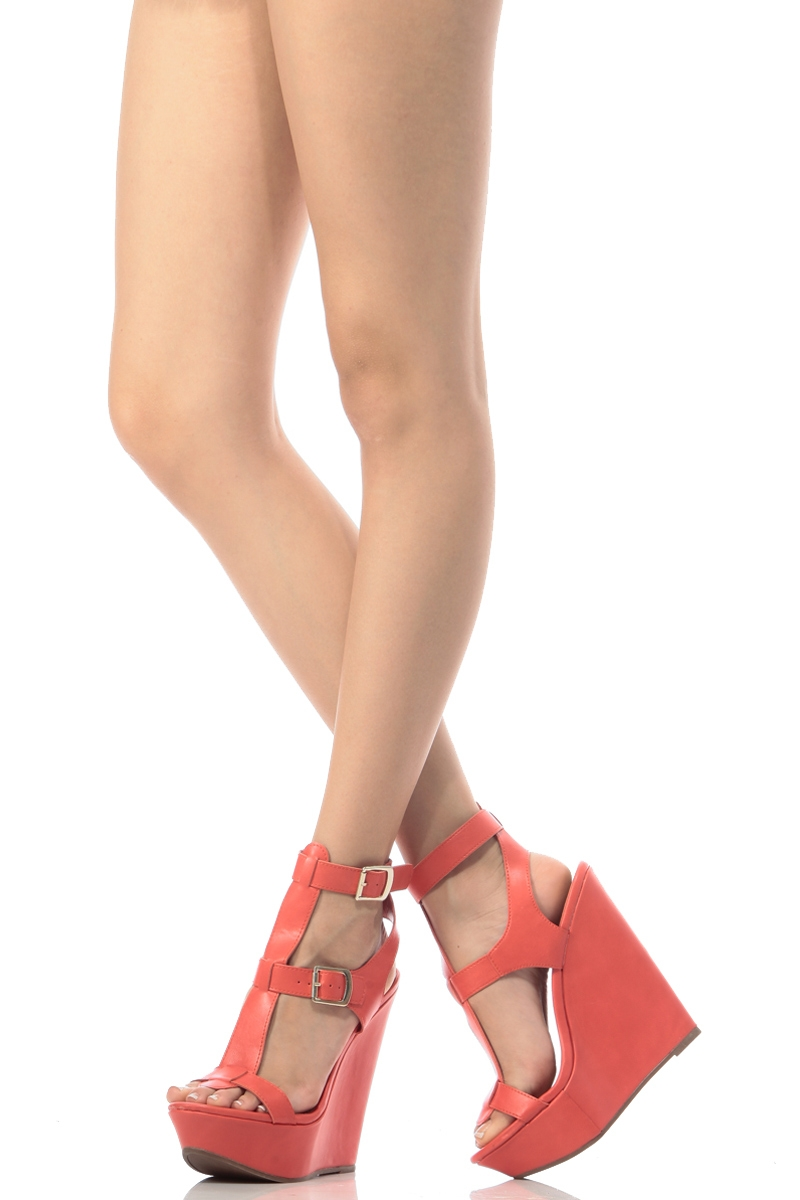 963a6286298 Coral Faux Leather Ankle Strap Wedges   Cicihot Wedges Shoes Store Wedge  Shoes