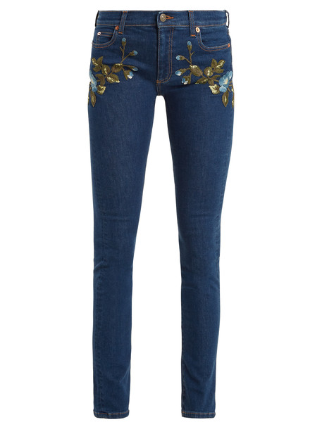 gucci jeans embroidered floral denim
