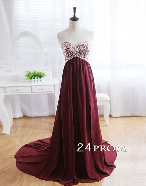Charming A-line Chiffon Long Prom Dresses, Evening Dresses, Formal Dresses - 24prom