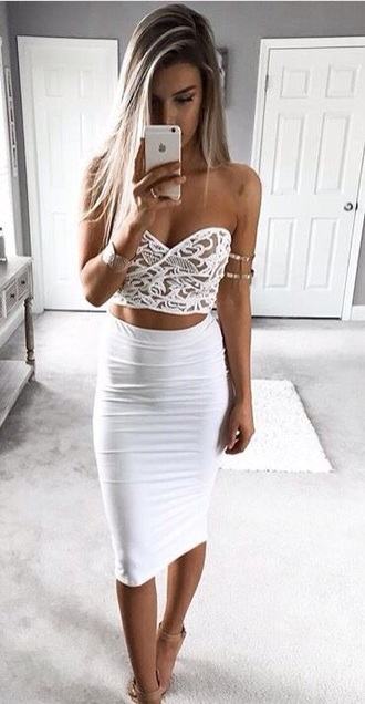 dress top white lace crop tops crop cute skirt white top white shirt pencil skirt high waisted love high waisted skirt skater skirt outfit outfit idea date outfit formal formal event outfit clothes tumblr outfit