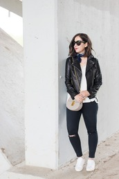 adventures in fashion,blogger,sunglasses,bag,jewels,leather jacket,white top,mini bag,nude bag,black jeans,ripped jeans,skinny jeans,white sneakers