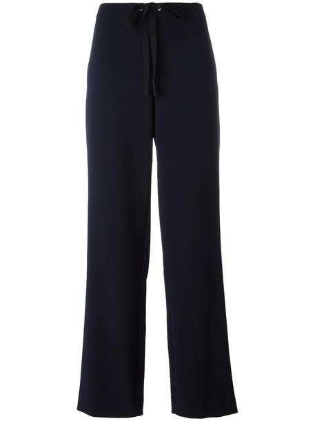 women drawstring blue pants