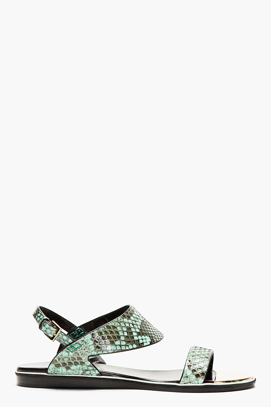 Nicholas kirkwood aqua python flat sandals