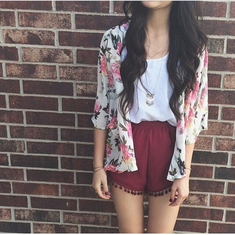 outfit red shorts cute jacket