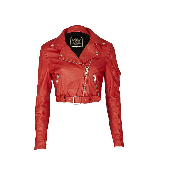 leather cropped 80s biker jacket - leather / non-leather jackets