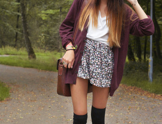 jacket burgundy jacket shorts skirt floral skirt sweater same coat red short summer outfits