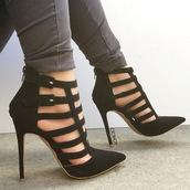 shoes,heels,high heels,cute high heels,pinty heels,pointy pumps,pointed toe heels,pointed heels,strappy heels,black heels,black,high heel sandals,gorgeous,fabulous