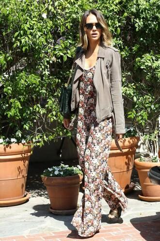 jumpsuit floral flowers jessica alba pants jacket